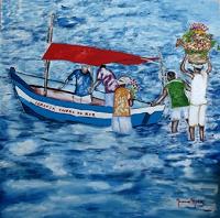 No dia 2 de Fevereiro as águas do Rio Vermelho tem a cor Azul 40cm x 40cm Óleo sobre tela